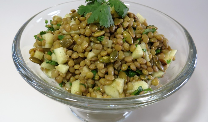 Lentil Salad with Apple, Pumpkin Seeds & Cilantro