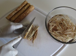 preparing gobo burdock root