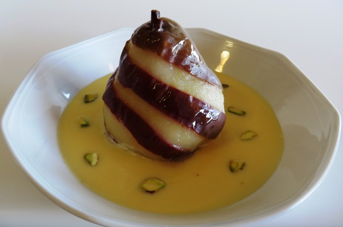 Striped Poached Pear in Crème Anglaise Fae's Twist & Tango